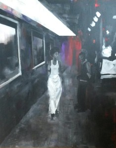 By night, crossing, acrylique sur toile, 100X80cm, 2014