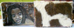 Boîte d'allumettes, acrylique, tissu façon animal