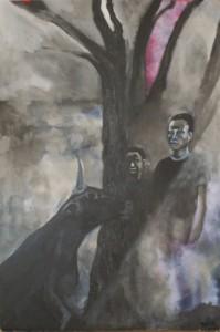 From, acrylique sur bois, 2014